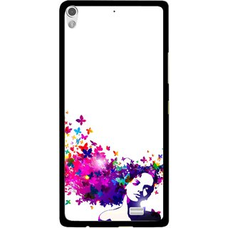 Snooky Printed Flowery Girl Mobile Back Cover For Gionee Elife S5.1 - Multi