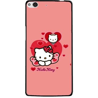 Snooky Printed Pinky Kitty Mobile Back Cover For Gionee Elife E6 - Multi