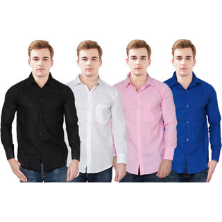 Spain Style Men's Solid Casual Black,Blue , White, Pink Shirt (Pack of 4)