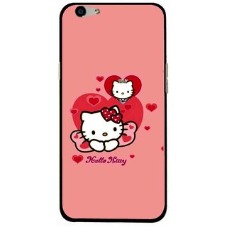 Snooky Printed Pinky Kitty Mobile Back Cover For Oppo F1s - Multi