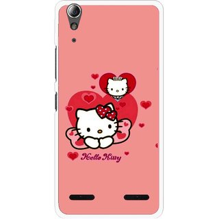 Snooky Printed Pinky Kitty Mobile Back Cover For Lenovo A6000 Plus - Multi