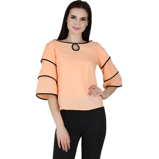 9b761f49c772a0 Buy Jollify Casual 3/4th Sleeve Solid Women's Orange Top Online ...