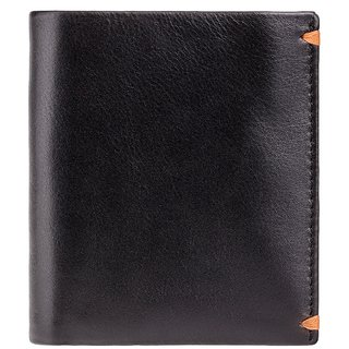 Visconti Brig BiFold Black  Orange Genuine Leather Mens Wallet