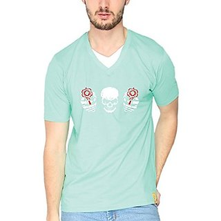 Campus Sutra Sea Green Gun Slinging Goth Double V neck Tshirts