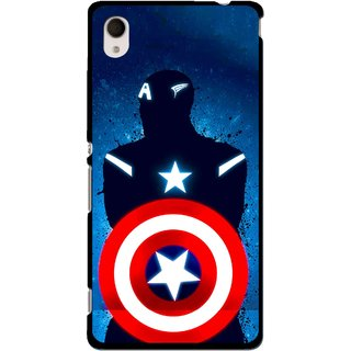 Snooky Printed America Sheild Mobile Back Cover For Sony Xperia M4 - Multi