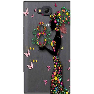 Snooky Printed Green Lady Mobile Back Cover of LYF Wind 4 - Multicolour