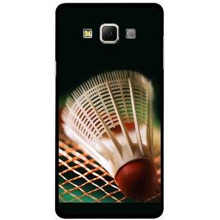 Snooky Printed Badminton Mobile Back Cover For Samsung Galaxy E7 - Multicolour