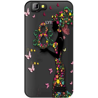 Snooky Printed Green Lady Mobile Back Cover of LYF Wind 5 - Multicolour