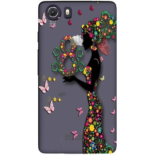 Snooky Printed Green Lady Mobile Back Cover of Micromax Canvas Unite 3 - Multicolour