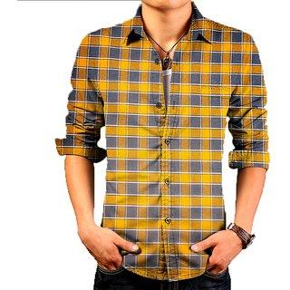 Yellow Check cotton shirt