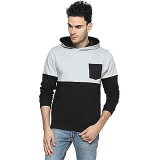 Campus Sutra Black Mens cotton Contrast Panel Hoodie with Pocket