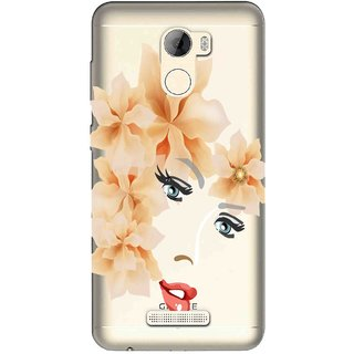 Snooky Printed Flower Face Mobile Back Cover of Gionee A1 Lite - Multicolour