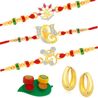 VK Jewels Gold and Rhodium Plated Alloy CZ American Diamond Rakhi Combo for Men [VKRAKHI1312G]