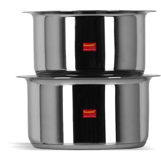 Sumeet 2 Pcs Stainless Steel Induction Bottom Cookware Set With Lids Size No.11 & No.12 (1.25 Ltr & 1.7 Ltr)