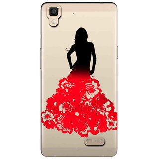 Snooky Printed Red Black Mobile Back Cover of Oppo R7 - Multicolour
