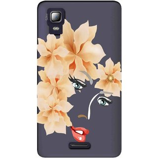 Snooky Printed Flower Face Mobile Back Cover of Micromax Canvas Doodle 3 A102 - Multicolour