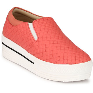 Groofer Women's Pink Smart Casuals Shoes