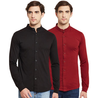 d912a8199e1 Buy Black Bee Solid Chinese Collar Poly-Cotton Shirt for Men Pack Of 2  Online - Get 66% Off