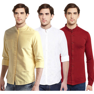 Black Bee Solid Chinese Collar Poly-Cotton Shirt for Men Pack Of 3