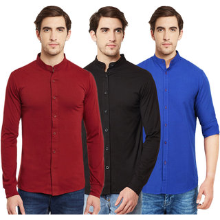 Black Bee Chinese Collar Poly-Cotton Shirt for Men Pack Of 3