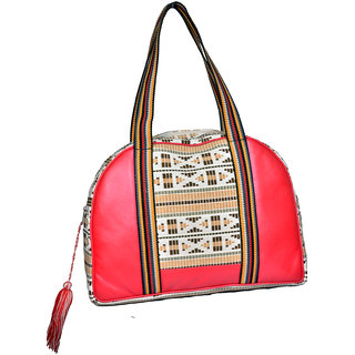 Red  Beige Hand Bag