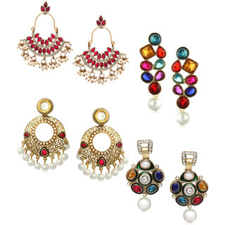 Zaveri Pearls Set of 4 Combo Ethnic Earrings - ZPFK6284