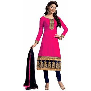 Manvaa Pink Heavy Border Chanderi Salwar Suit Dress Material
