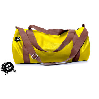 47447a130aa2 Buy InkCraft Gym Bag 25Litres Leatherrite Gym Duffle Bag-Yellow Online -  Get 82% Off