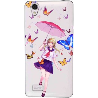 Snooky Printed Butterfly Mobile Back Cover of Vivo Y31 - Multicolour