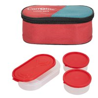 Sellebrity 3 in 1 Red Lunchbox-2 Plastic Container1 Plastic Chapati tray