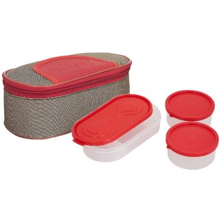 Sellebrity Solace Red-Brown Lunchbox-2 Plastic Container1 Plastic Chapati tray