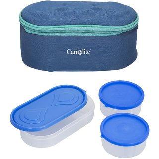Sellebrity Browny Blue Lunchbox-2 Plastic Container1 Plastic Chapati tray