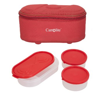 Sellebrity Browny Red Lunchbox-2 Plastic Container1 Plastic Chapati tray