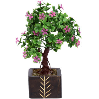 Random 3 Branched Bonsai Tree with Large Purple Flowers