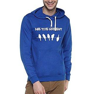 Campus Sutra Royal Blue Mens Printed Hoodie
