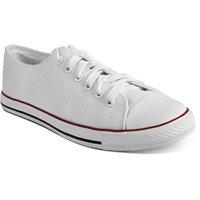 Romanfox Men'S White Lace-Up Sneakers