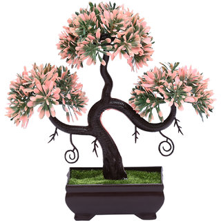 Random S Shaped Bonsai Tree with Green and Pink Leaves