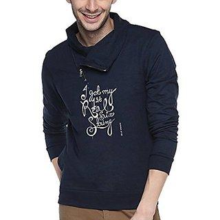 Campus Sutra Navy Blue Mens cotton Shawl Neck Printed Sweatshirt