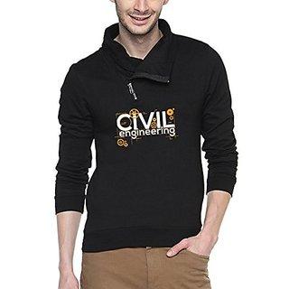 Campus Sutra Black Mens Shawl Neck Printed Sweatshirt