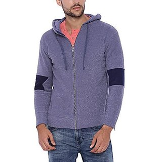 Campus Sutra Men Blue Zipper Hoodie