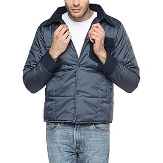Campus Sutra Navy Blue Mens cotton Jacket