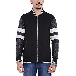 Campus Sutra Mens Black Varsity Jacket