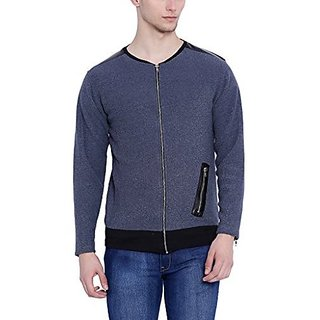 Campus Sutra Men Plain Blue Jacket