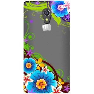 Snooky Printed Corner design Mobile Back Cover of Micromax Canvas Fire 4G Q411 - Multicolour