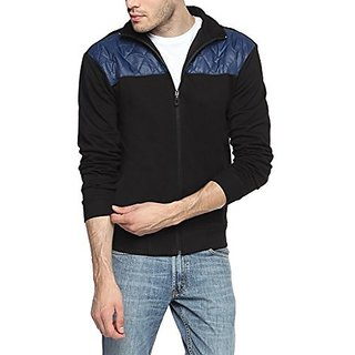 Campus Sutra Black and Blue Mens cotton Jacket