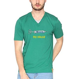 Campus Sutra Men Printed V-Neck T-Shirt