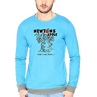 Campus Sutra Charcoal Melange Newtons Apple Fullsleeve Border Tshirts