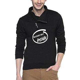 Campus Sutra Black Mens cotton Shawl Neck Printed Sweatshirt