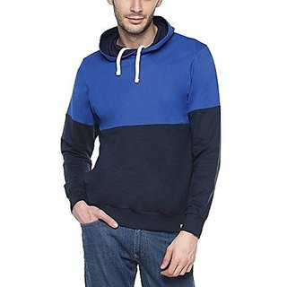 Campus Sutra Royal Blue Mens cotton Contrast Panel Hoodie Hoodie