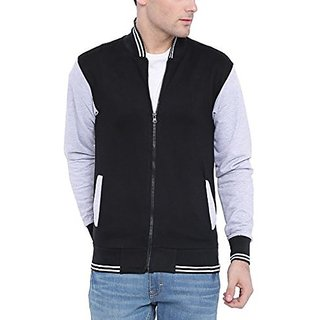 Campus Sutra Men Black Varsity Jacket
